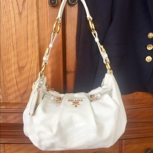 Prada White Leather Pleated Handbag